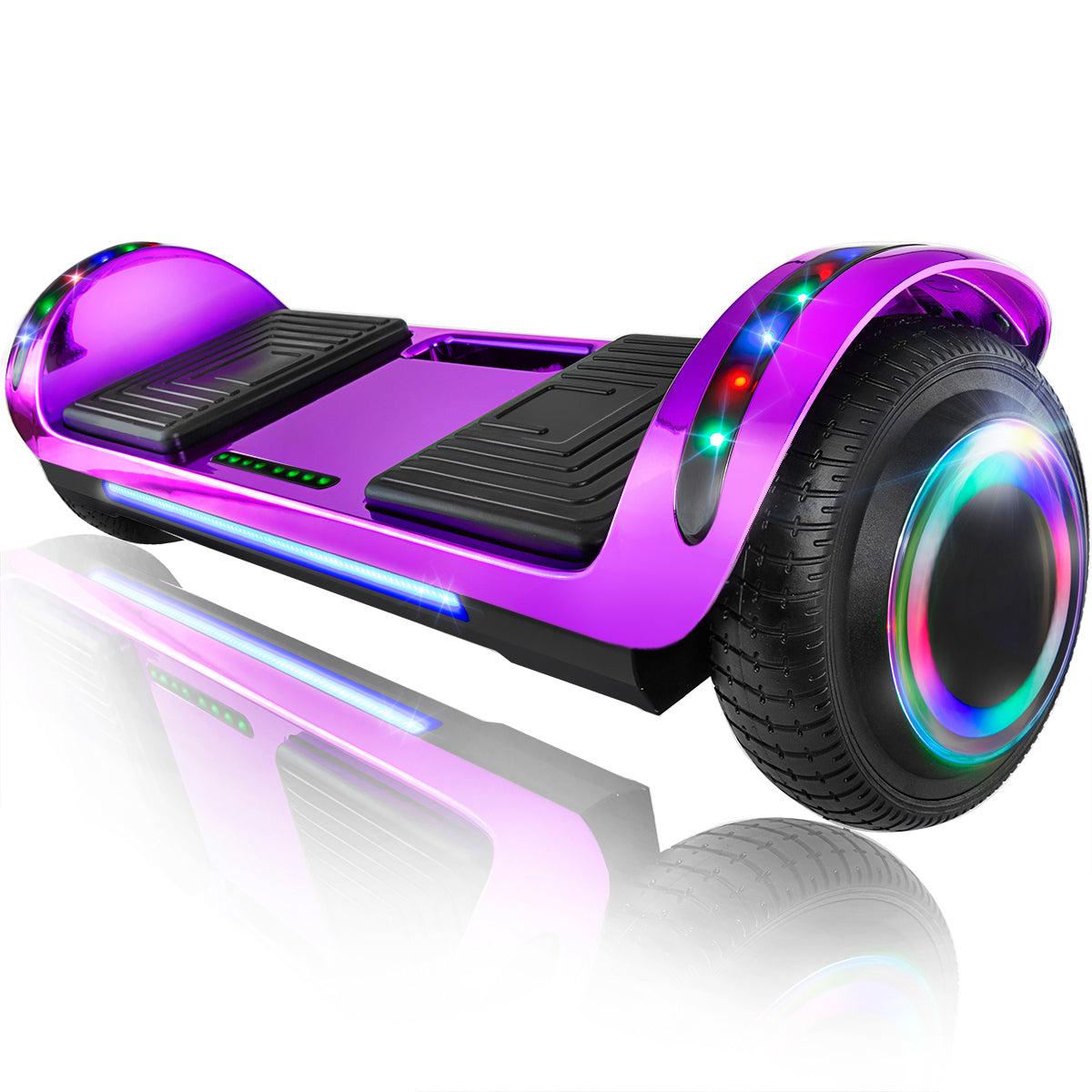 "XPRIT 6.5"" Hoverboard Self-Balance Two Wheel w/Built-in Wireless Speaker-Chrome Purple"