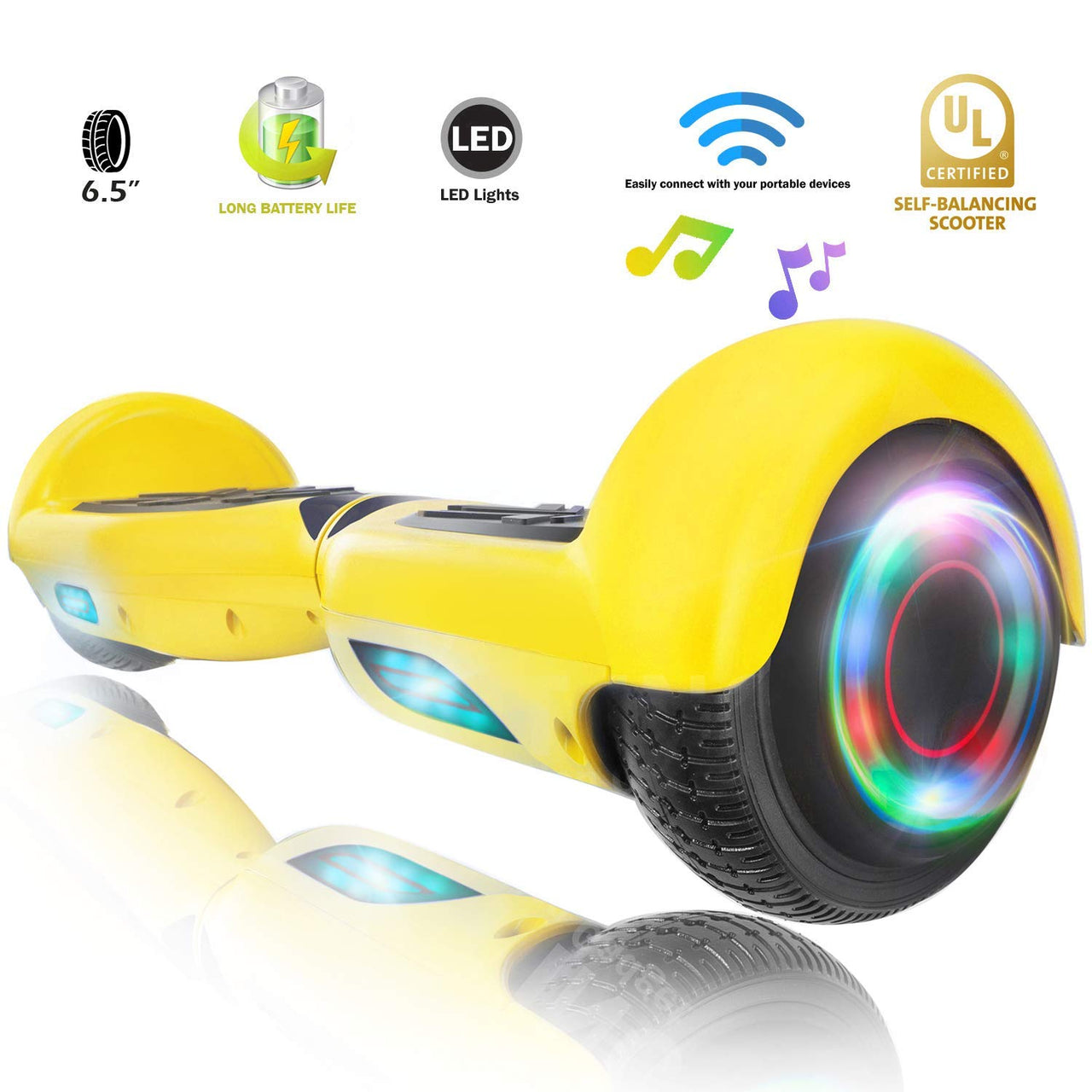 XPRIT Hoverboard w/Bluetooth Speaker, Yellow