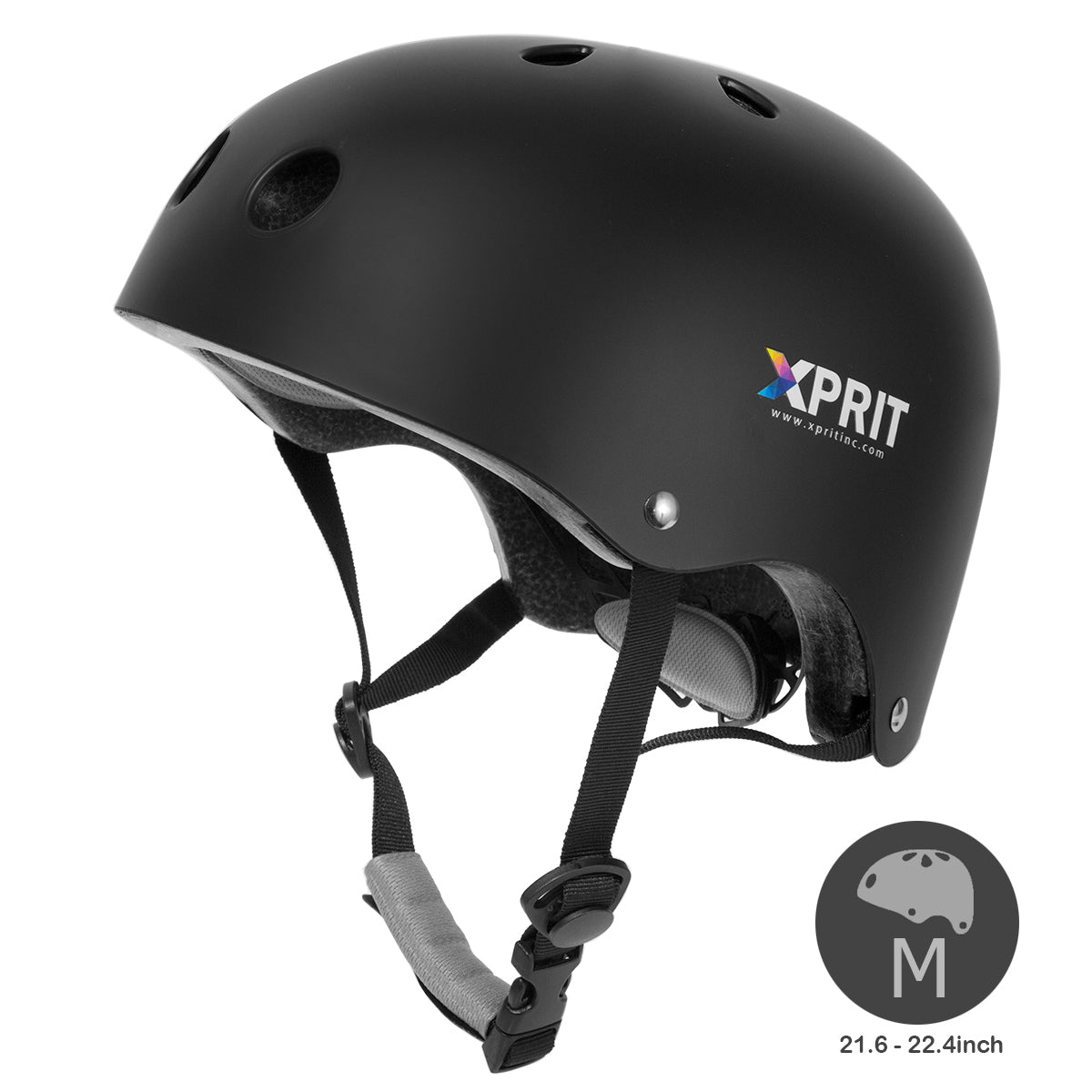 XPRIT Kids/Adults Protection Helmet For Scooter, Hoverboard, Skateboard and Bicycle. Black Medium