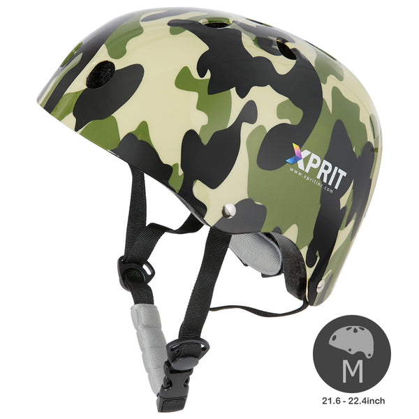 XPRIT Kids/Adults Protection Helmet For Scooter, Hoverboard, Skateboard and Bicycle. Camouflage Medium