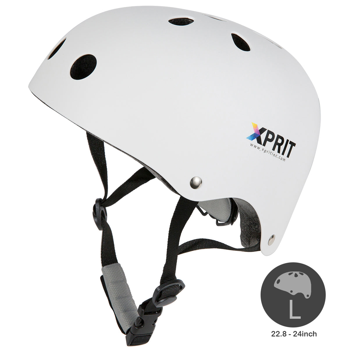 XPRIT Kids/Adults Protection Helmet For Scooter, Hoverboard, Skateboard and Bicycle. White Large