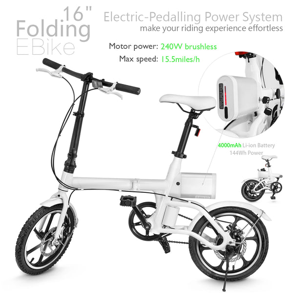 "XPRIT Folding Electric Bike 16"" Wheels with 240W Brushless Motor"