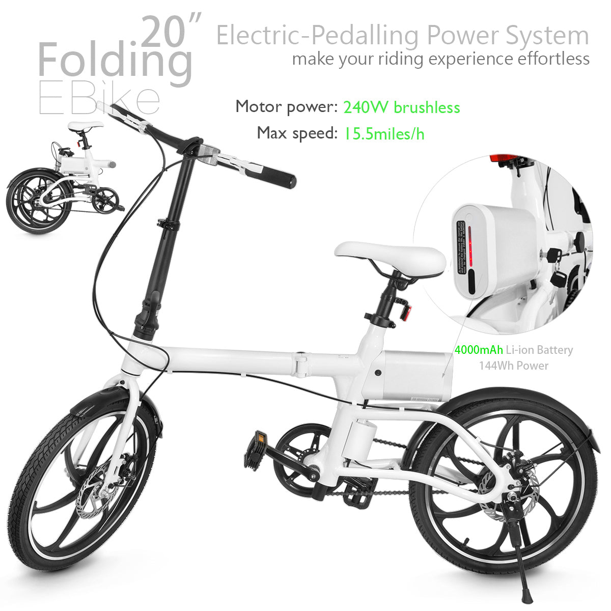 "XPRIT Folding Electric Bike 20"" Wheels with 240W Brushless Motor"