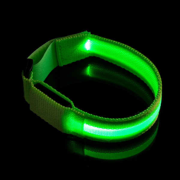 "XPRIT Slap Armband Lights Glow Band for Running, Scooter Safety w/Replaceable Battery, 12"" Length (Green, 1-Unit)"