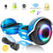 XPRIT Chrome Blue Hoverboard with Bluetooth Speaker, LED Wheels