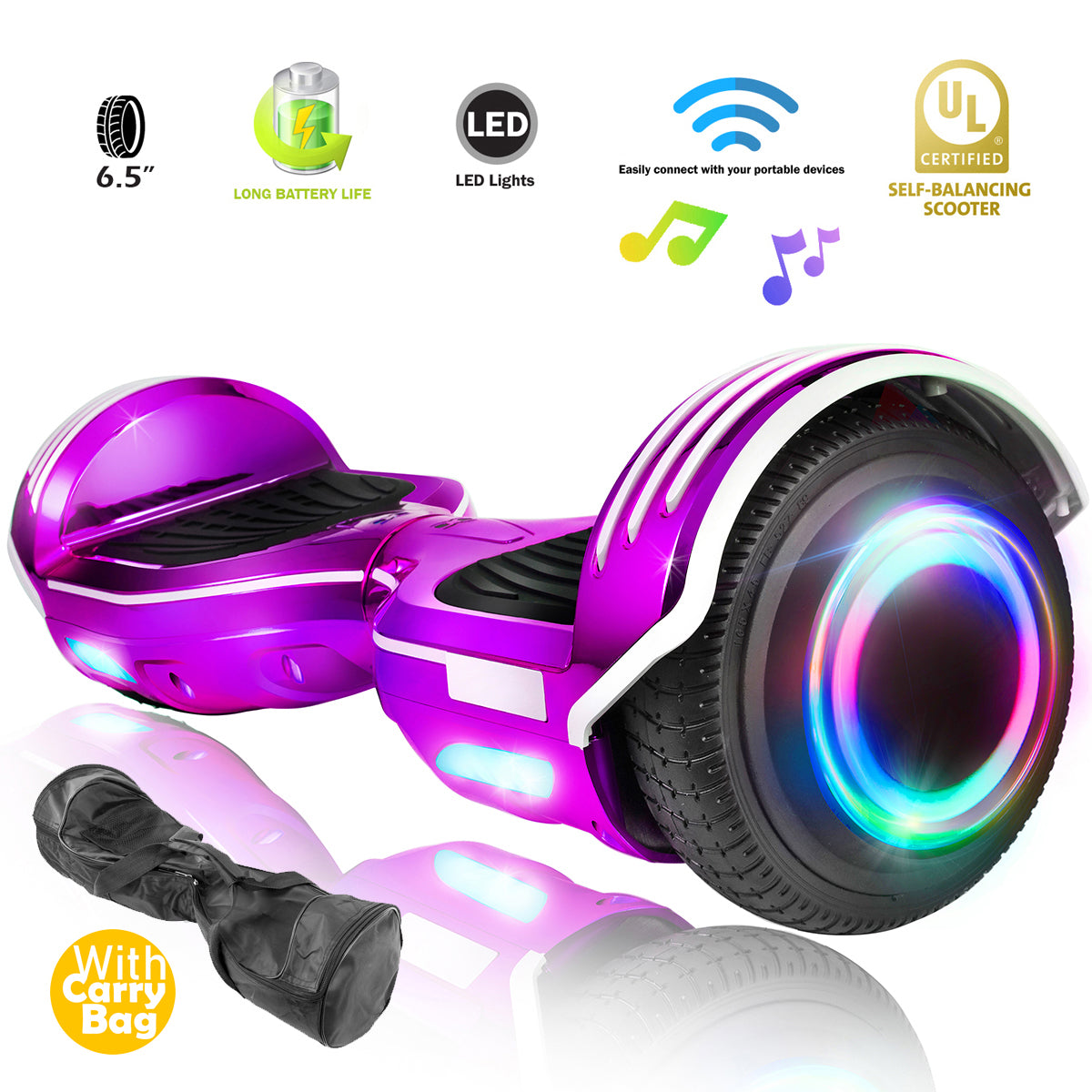 XPRIT Chrome Purple Hoverboard with Bluetooth Speaker, LED Wheels