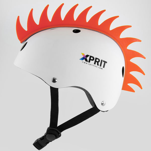 XPRIT Mohawk, Warhawk Wig Accessory Adhesive/Stick On Helmet for Skateboarding, Dirt-Bikes, Motorcycle, Cycling, Orange