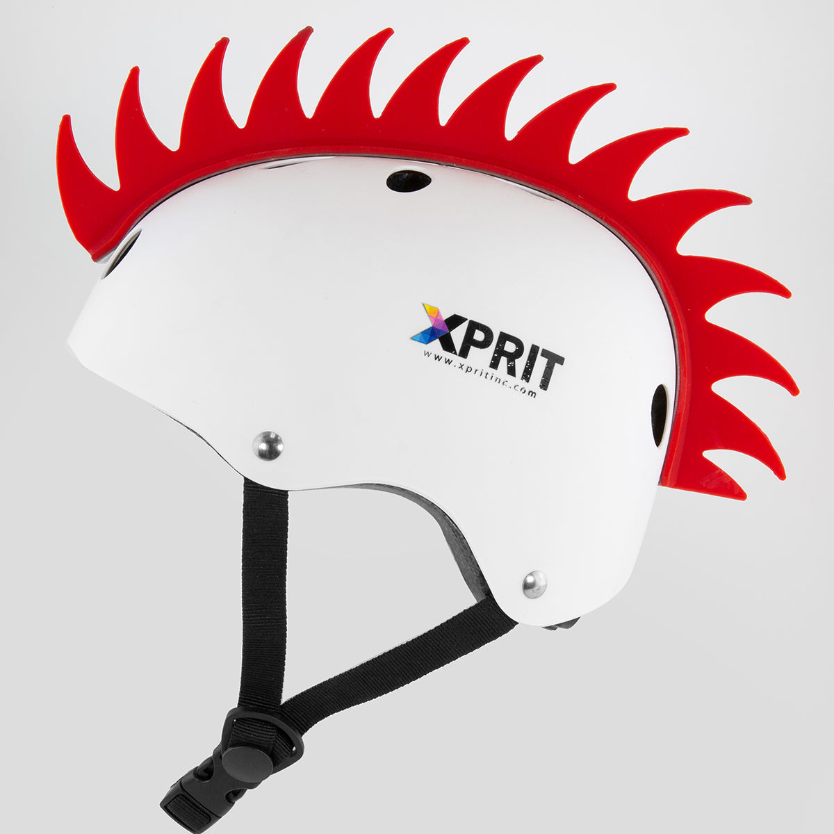 XPRIT Mohawk, Warhawk Wig Accessory Adhesive/Stick On Helmet for Skateboarding, Dirt-Bikes, Motorcycle, Cycling, Red