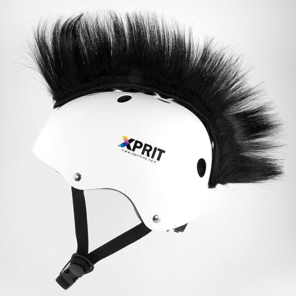 XPRIT Mohawk, Warhawk Wig Accessory Adhesive/Stick On Helmet for Skateboarding, Dirt-Bikes, Motorcycle, Cycling, Black Hair