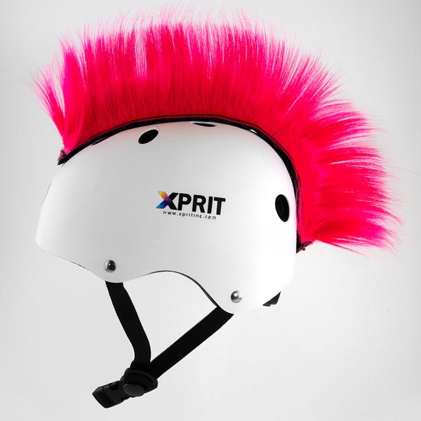 XPRIT Mohawk, Warhawk Wig Accessory Adhesive/Stick On Helmet for Skateboarding, Dirt-Bikes, Motorcycle, Cycling, Pink Hair