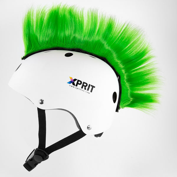 XPRIT Mohawk, Warhawk Wig Accessory Adhesive/Stick On Helmet for Skateboarding, Dirt-Bikes, Motorcycle, Cycling, Green Hair
