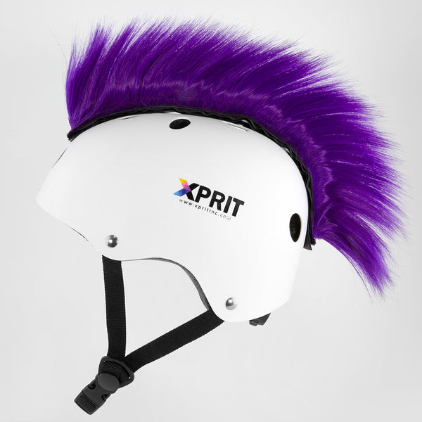XPRIT Mohawk, Warhawk Wig Accessory Adhesive/Stick On Helmet for Skateboarding, Dirt-Bikes, Motorcycle, Cycling, Purple Hair
