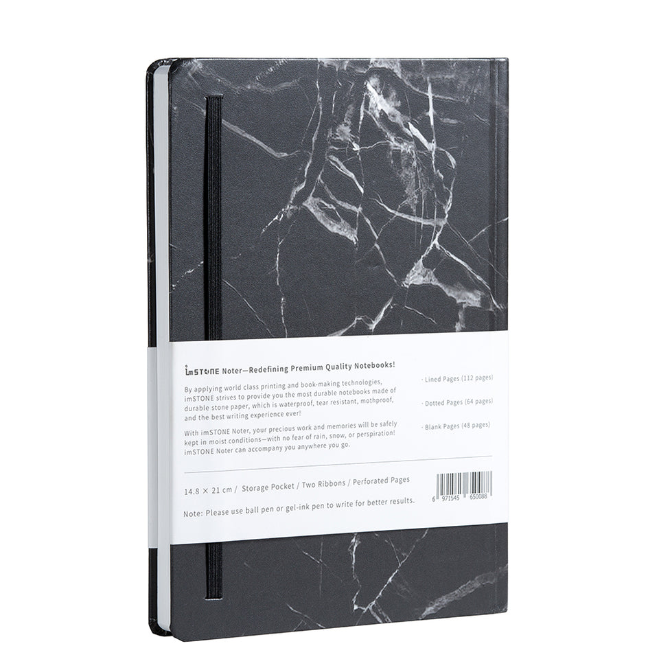 RockBook, A5 Hardcover; black marble rear cover.