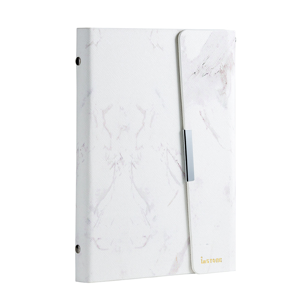 Anti-Theft Stone Binder; white marble, front side.