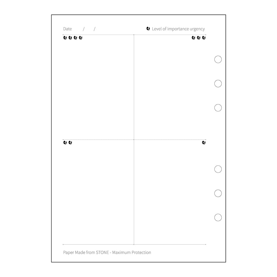 Prioritization matrix inserts, left page.