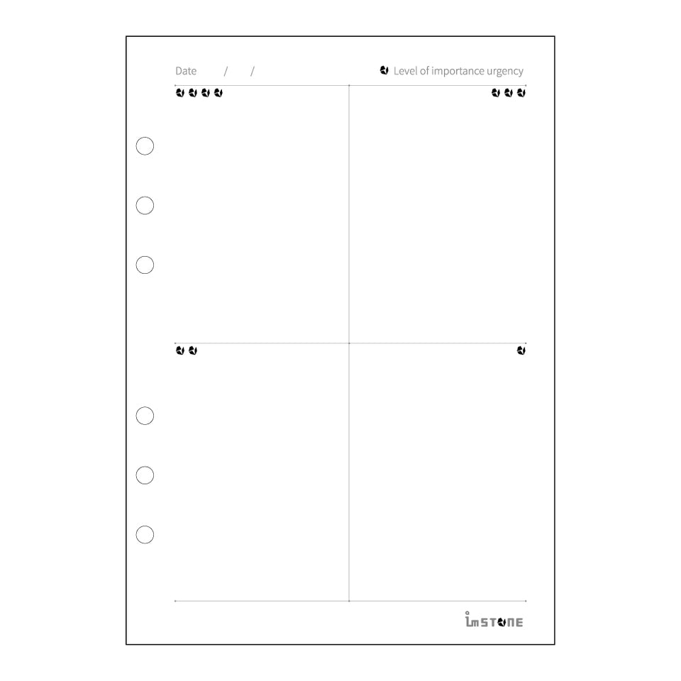 Prioritization matrix inserts, right page.