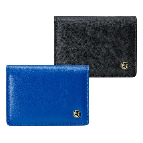 Stone Business Card Wallet; blue at the front, black at the rear.