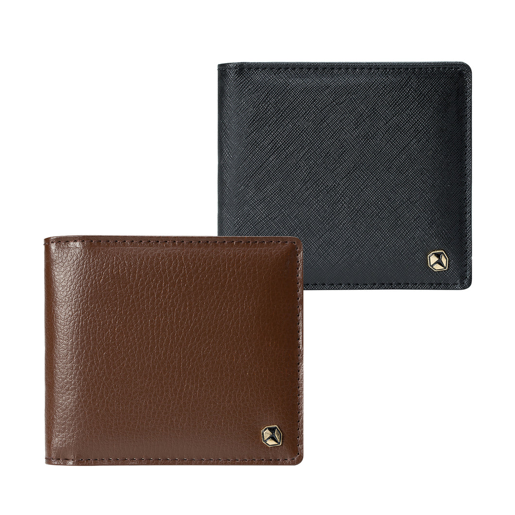Stone Men's Wallet; brown at the front, black at the rear.
