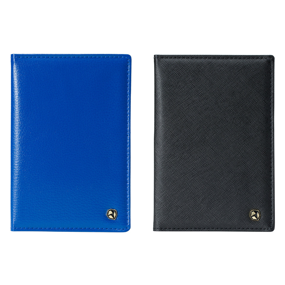 Stone Passport Wallet; blue at the left, black at the right.