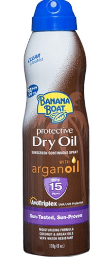 Bundle of 5 X Banana Boat DRY OIL W/ARGAN OIL Spray SPF15 170G