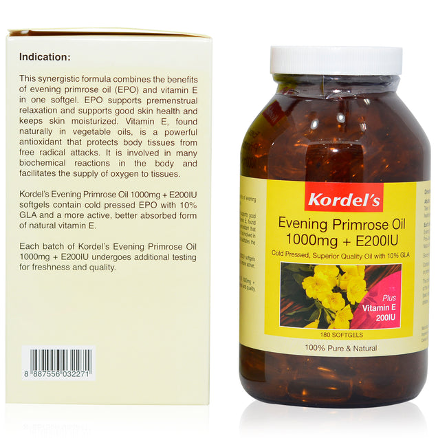 Kordel Evening Primrose Oil 180s_sideview