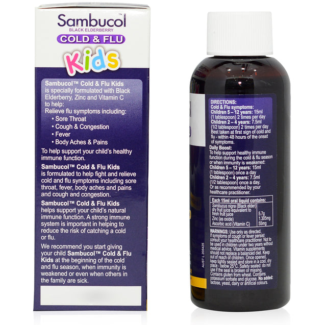 Sambucol Kids Cold & Flu 120ml_sideview 2