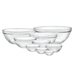 Duralex Lys Stackable Clear Bowls, Mixed Size: 9-piece Set
