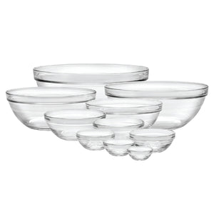 Duralex Lys Stackable Clear Bowls, Mixed Size: 10-piece Set
