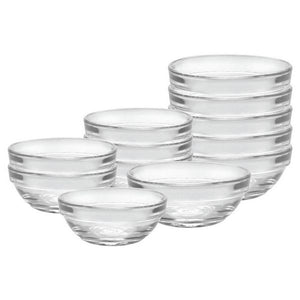 Duralex Lys Stackable Clear Bowls, Mixed Size: 12-piece Set