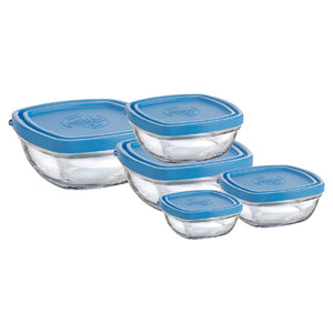 Duralex Lys Square Bowl with Lid Size: 5-piece Set, Package: Set of 5