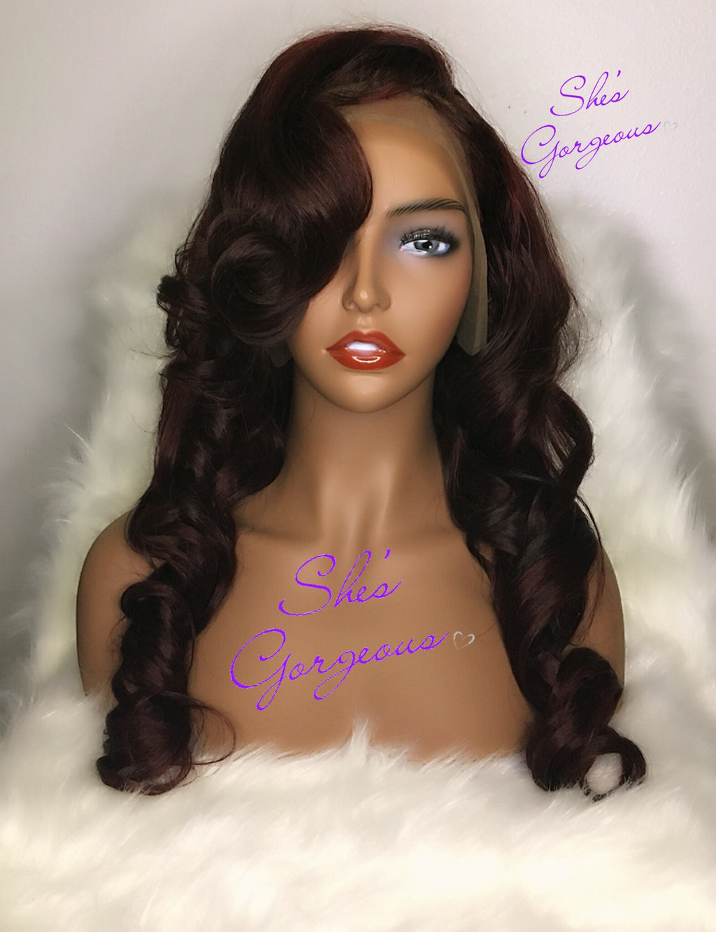 Red Body Wave Lace Frontal Wig 22in.