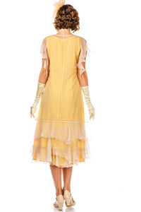 Alexa 1920s Flapper Style Dress in Lemon by Nataya