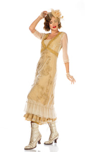 Vintage Titanic Style Dress in Gold by Nataya