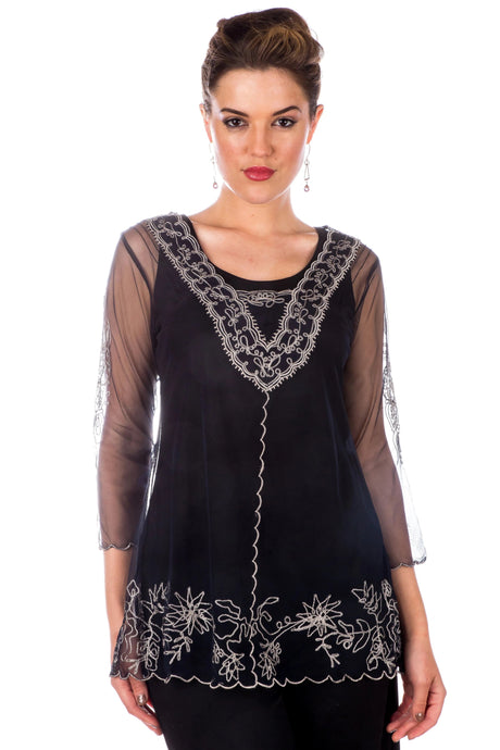 Nataya CT-407  Vintage Lace Sapphire Top