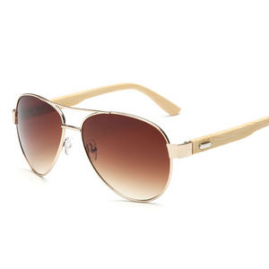 Aviator Wood Gradient Sunglasses
