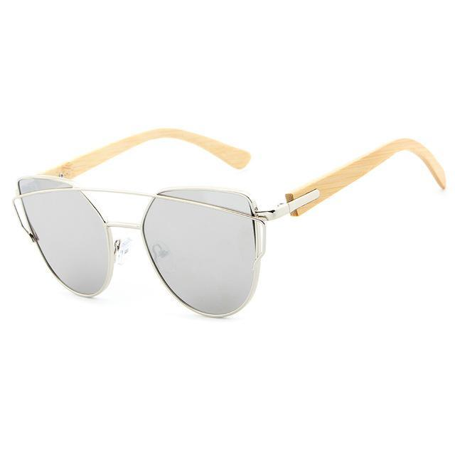 Cat Eye Wood Bamboo Sunglasses for Women Silver