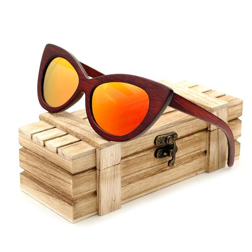 Women Wood Polarized Sunglasses UV400