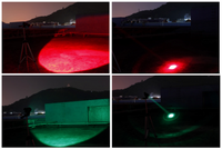 Red and green coloured hunting lights
