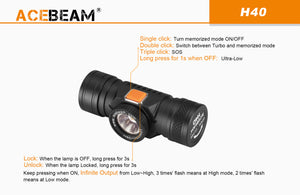 Acebeam H40 HD - compact, lightweight headlamp - Hi Power Flashlights, LED Torches