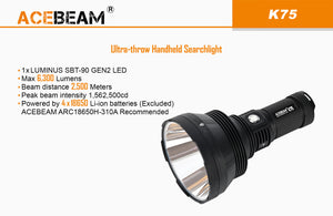 Acebeam K75  OUTSTANDING With 4X 3100mah batteries & Charger - Hi Power Flashlights, LED Torches