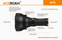 Acebeam K75  OUTSTANDING With 4X 3100mah batteries & Charger - Hi Power Flashlights
