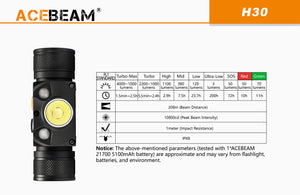 Acebeam H30 - Hi Power Flashlights, LED Torches