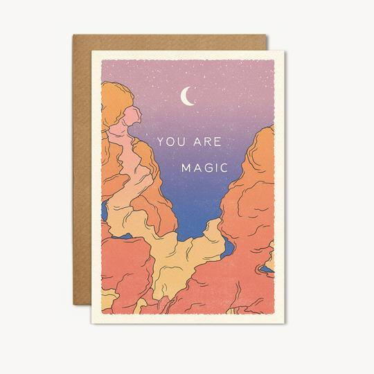 You Are Magic Greeting Card with Moon & Sky Illustration