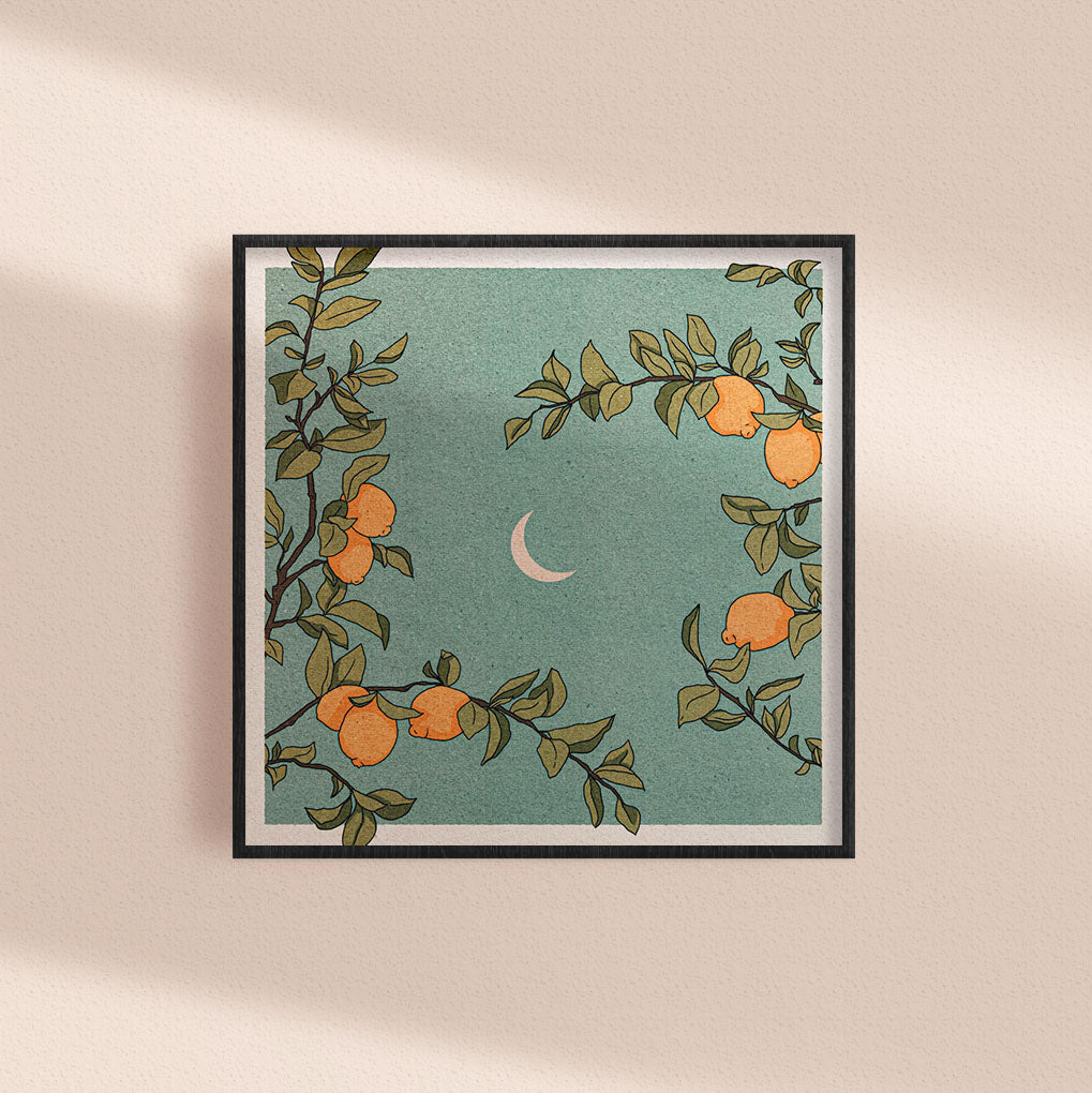 Crescent Moon and Lemon Tree Square Print
