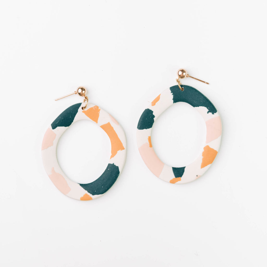 Organic Hoop Earrings in Deep Teal, Pink & Orange Terrazzo