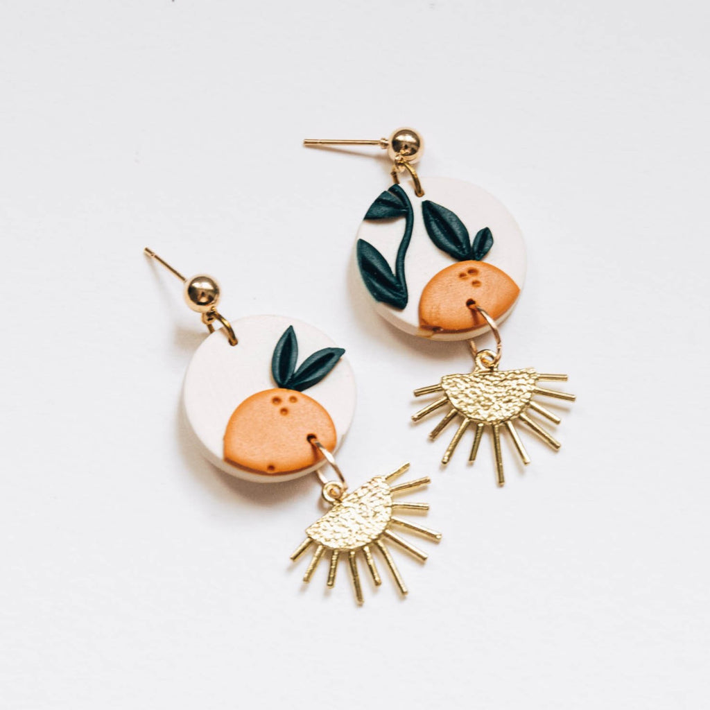 Orange Tree with Brass Drop Earrings, Embroidery Floral Inspired