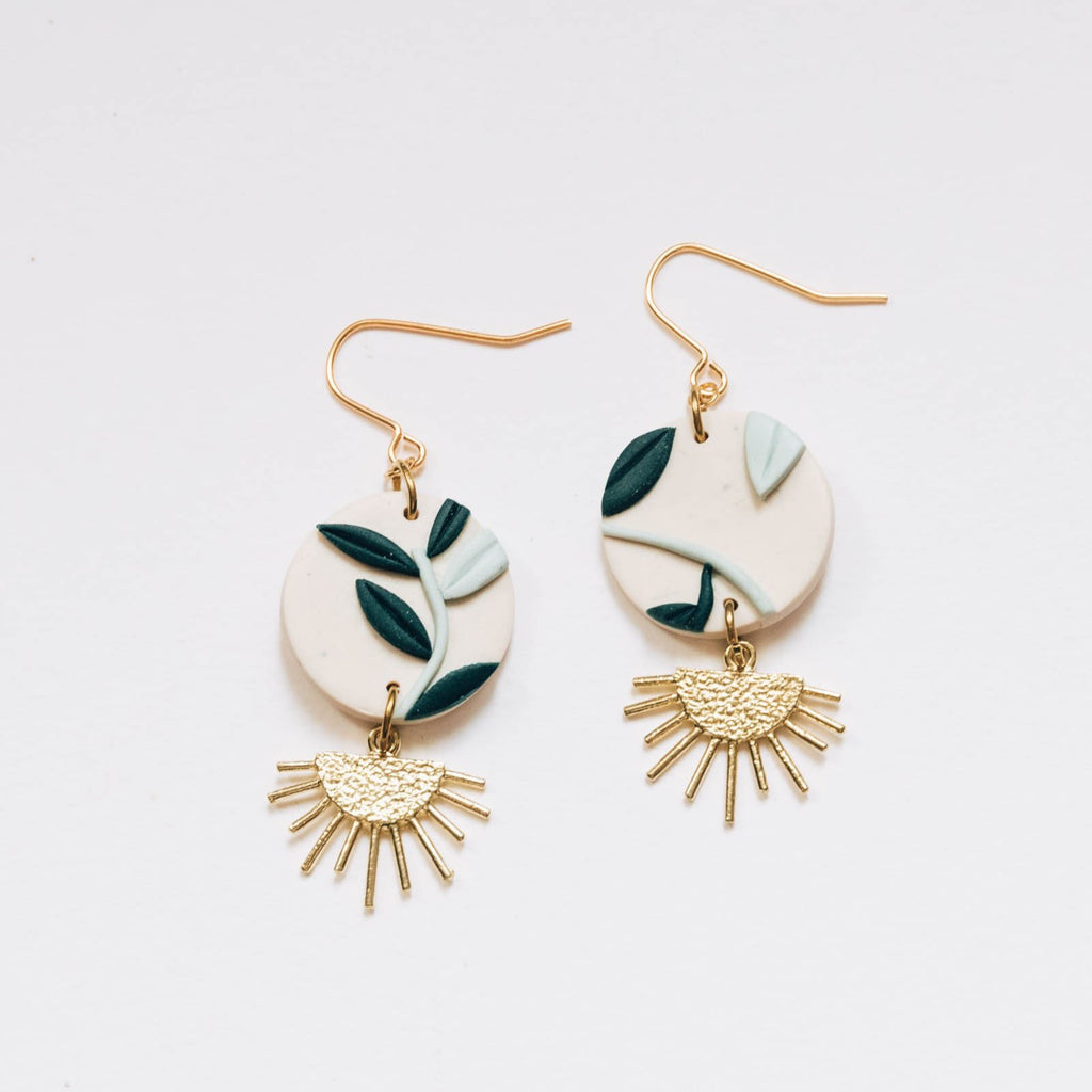 Foliage with Brass Drop Earrings, Embroidery Floral Inspired