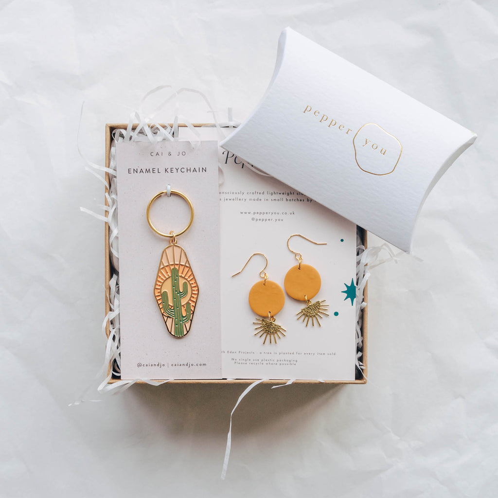 Gift Box Sunset Earrings and Cactus Enamel Keyring
