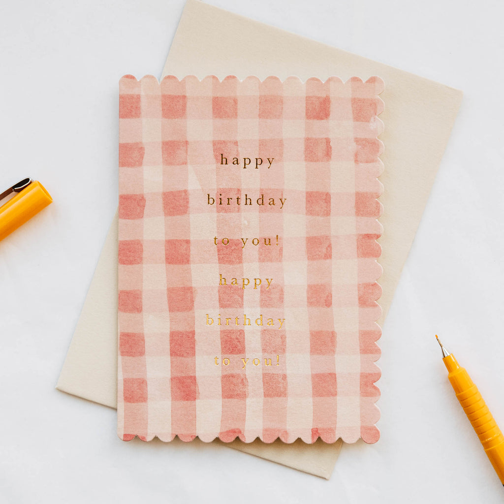 Happy Birthday Pink Gingham Card