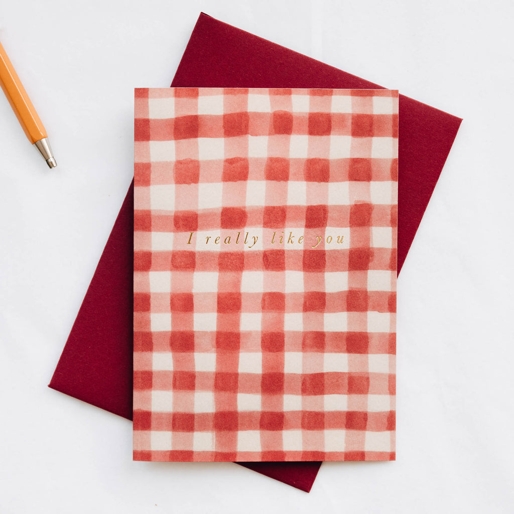 I Really Like You Red Gingham Card